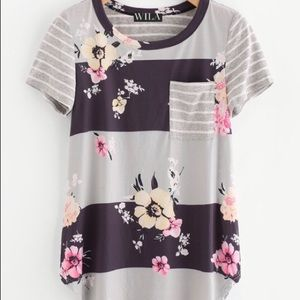 New Wila Soft Stripe Floral Tee Shirt Gray Large
